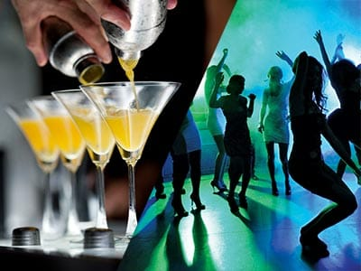 Split image of four cocktails being poured and girls dancing on dance floor