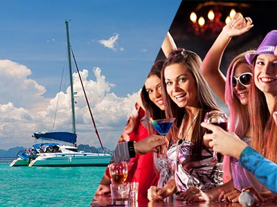 Split image of a catamaran in clear blue water and girls at the bar with their drinks