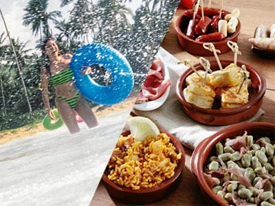 Split image of a girl in bikini in water with ring and a selection of tapas dishes