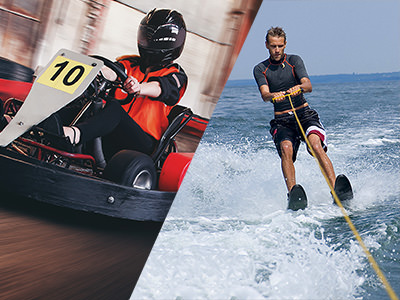 A man go karting and a man waterskiing