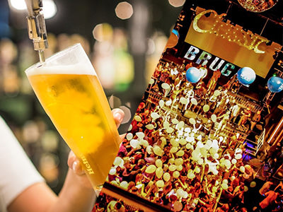 A man pouring a pint and an aerial view of a nightclub