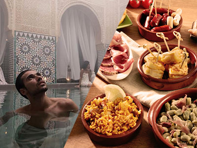 A man relaxing in a pool and plates of tapas