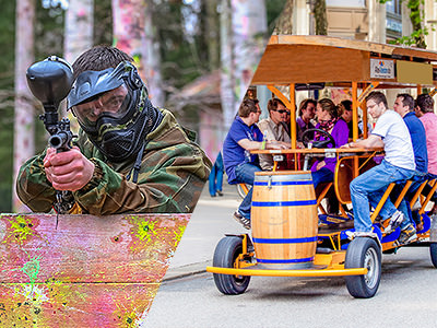 A man paintballing and a group of men on a beer bike