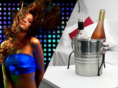 A split image of a girl dancing with blue lights behind her and two bottles of alcohol in a bucket on a table