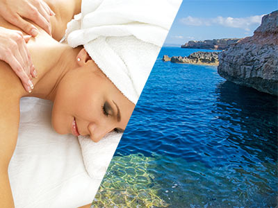 A split image of a woman lying down getting a shoulder massage and a view of the sea with a cliff in the background