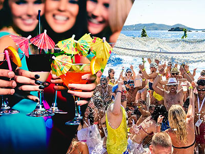 A split image of three girls holding colourful cocktails and a group of people partying on a boat