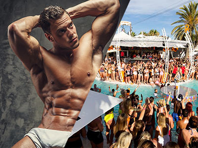 A split image of a topless man posing and people partying at a beach club