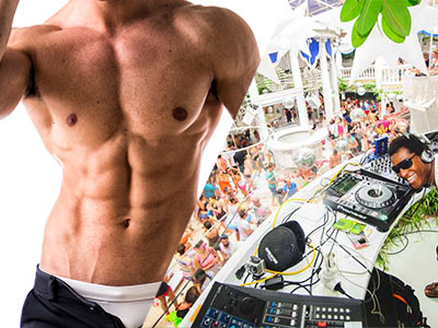 A split image of a topless man and a DJ with a crowd of people in the background, in the daytime