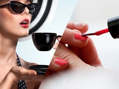 A split image of a women drinking a cup of tea and a women's nails being painted