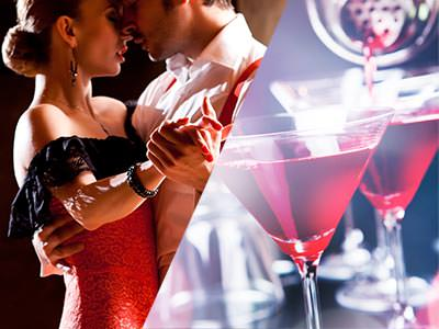 A split image of a man and woman salsa dancing together and some cocktails being poured