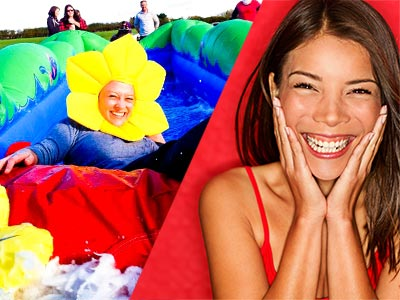 A split image of a woman wearing a sunflower hat, on an outdoor inflatable slide and a woman smiling with her hands to her face