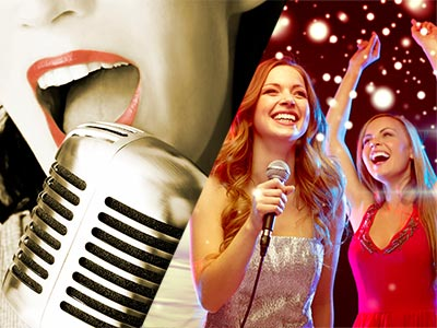 A split image of a woman singing into a microphone and some girls dancing and smiling whilst one sings into a microphone