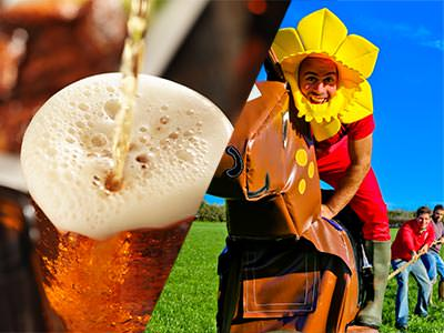 A split image of beer being poured and a man on a fake horse, wearing a sunflower hat
