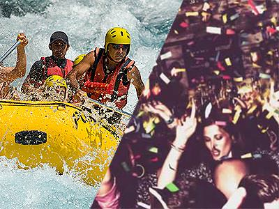 A split image of some people in white water rapids and some people partying under confetti falling from the ceiling