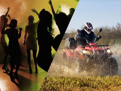 A split image of some silhouettes of people partying and a quad bike driving through a muddy, wet field