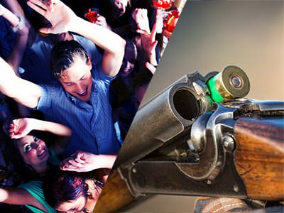 A split image of some people partying with a man in the middle with his arms in the air and a gun being loaded