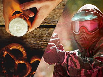 A split image of someone holding a glass of beer with pretzels in front of them and a person firing a paintball gun