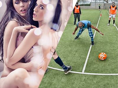 A split image of two lesbians getting close to each other and some men attempting to play bubble football