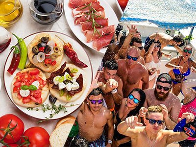 A split image of tapas food and people partying on a boat