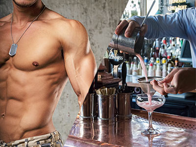 A split image of a topless man and a cocktail being made