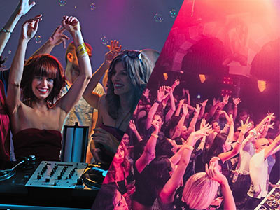 A split image of girls dancing around a mixing desk and people in a nightclub with their arms up in the air