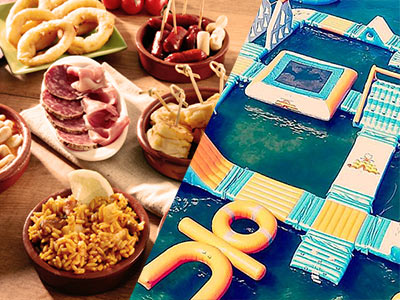 A split image of a tapas meal and an inflatable water obstacle course