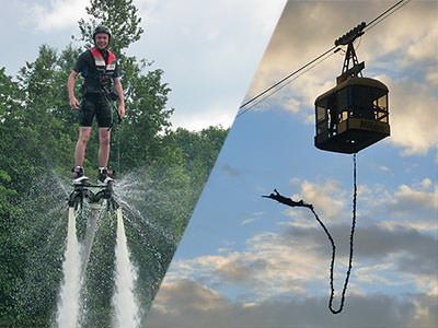 Split image of a man on a jet lev in the air, and a cable car to a backdrop of the sky