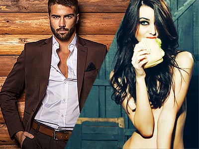 Split image of a man posing in a suit to a wooden backdrop, and a naked woman holding a sandwich to her mouth