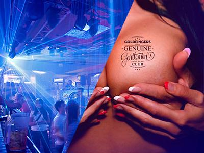 A split image of a busy nightclub and a woman holding her breasts whilst another woman cups her hands