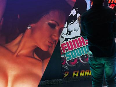 A split image of a woman with prominent breasts and a Funky Soul night promotional banner