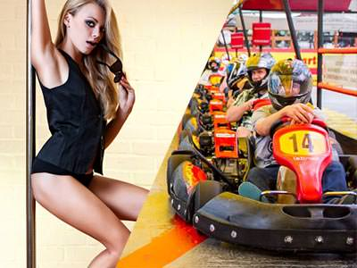 A split image of a girl on a pole and some people lined up in go karts