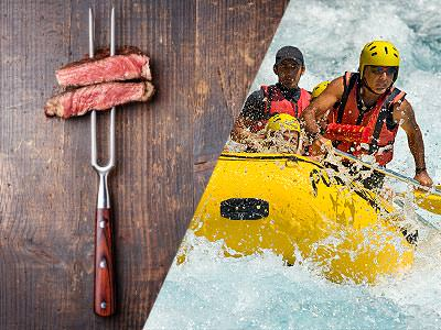 A split image of a meat skewer and some people white water rafting