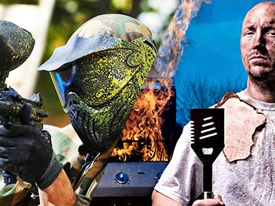 A split image of a man firing a paintball gun and a man looking burnt after a BBQ