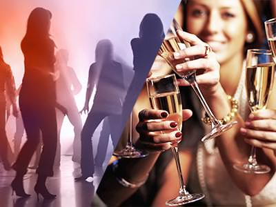 Split image of silhouettes dancing in a club, and women holding champagne flutes in front of them