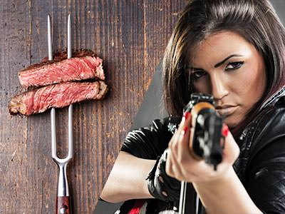 Split image of two pieces of meat on a skewer and a woman aiming a gun