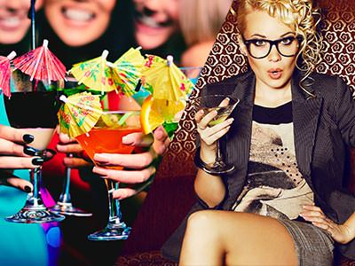 Split image of people holding drinks in front of them topped with yellow umbrellas, and a woman sat down and posing whilst holding a drink