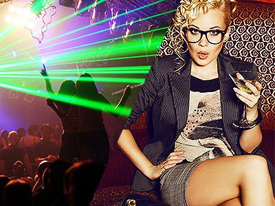 Split image of people dancing on a dance floor to a backdrop of green strobe lights, and a woman sat down and posing whilst holding a cocktail