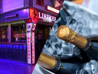 A split image of the exterior of Linekers and bottles of champagne on ice