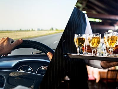 Split image of hands on a steering wheels and a waiter carrying a tray of drinks
