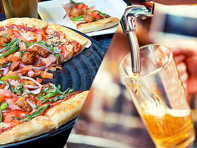 Split image of a pizza with a slice in the background, and a pint of beer being poured from a tap