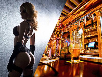 Split image of a woman in underwear and turning towards the camera, and a pint of beer on a bar top