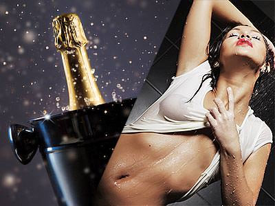Split image of a woman pulling her wet, white T-shirt up and a champagne bottle in a black ice bucket
