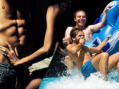 Split image of a woman rubbing the naked torso of a man, and two men coming down a slide into a pool