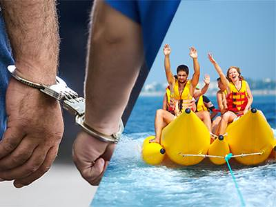 Split image of people on a banana boat in the sea, and a man's hand handcuffed to another man's hand