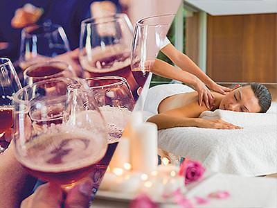 Split image of people toasting with brandy glasses, and a woman receiving a back massage