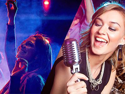 A split image of a girl dancing in a club, and a girl singing into a microphone