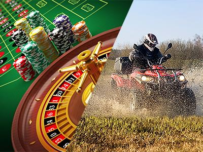 Split image of a roulette wheel and chips on a table, and a man driving a quad bike through a muddy field