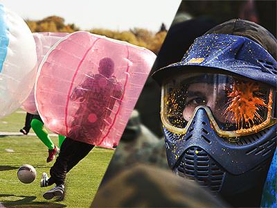Split image of people playing with inflatable zorbs on a pitch, and a man in a mask and firing a paintball gun