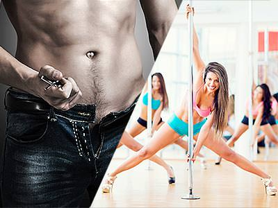 Split image of a man pulling off his belt from his jeans, and women pole dancing