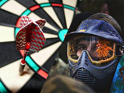A split image of a darts board with a dart in and a person with a paintball mask on